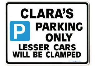 CLARA'S Personalised Parking Sign Gift | Unique Car Present for Her |  Size Large - Metal faced